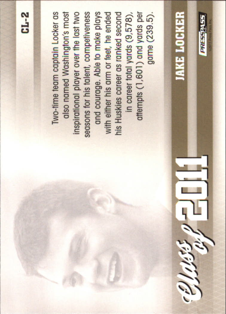 2011 Press Pass Class of 2011 #CL2 Jake Locker back image