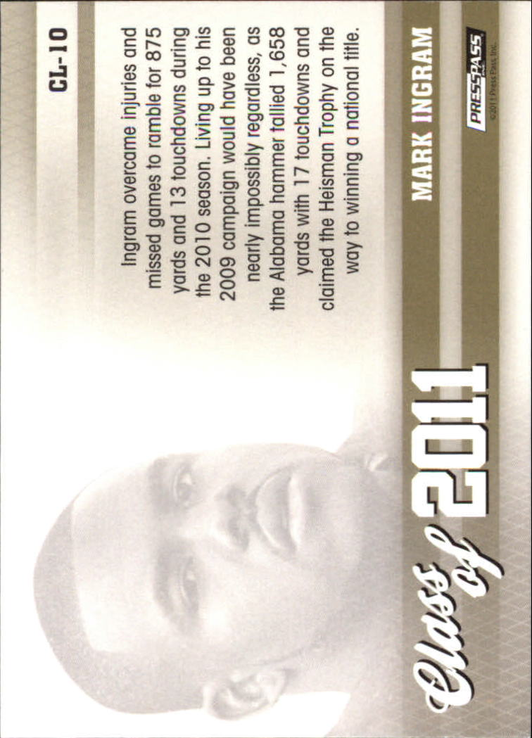 2011 Press Pass Class of 2011 #CL10 Mark Ingram back image