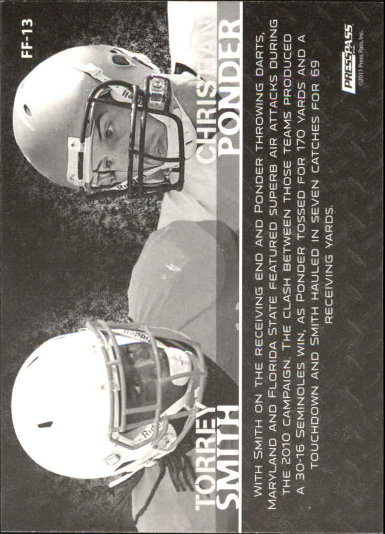 2011 Press Pass Face to Face #FF13 Torrey Smith/Christian Ponder back image