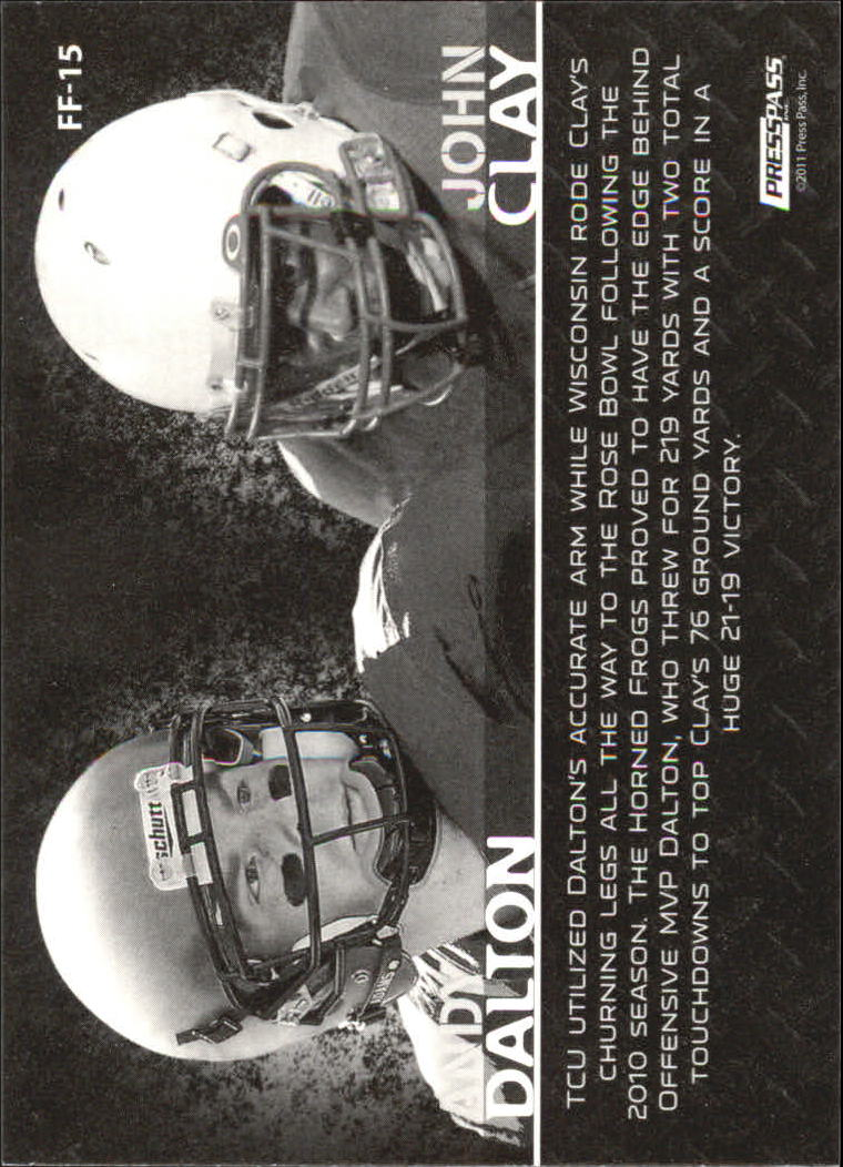 2011 Press Pass Face to Face #FF15 Andy Dalton/John Clay back image