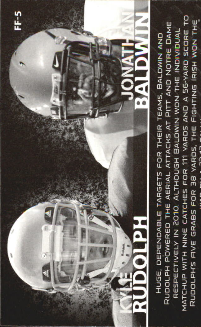 2011 Press Pass Face to Face #FF5 Jonathan Baldwin/Kyle Rudolph back image