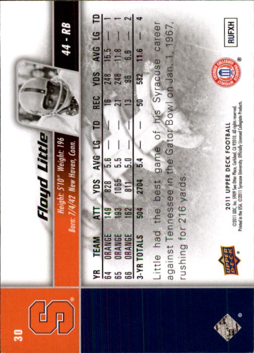 2011 Upper Deck #30 Floyd Little back image