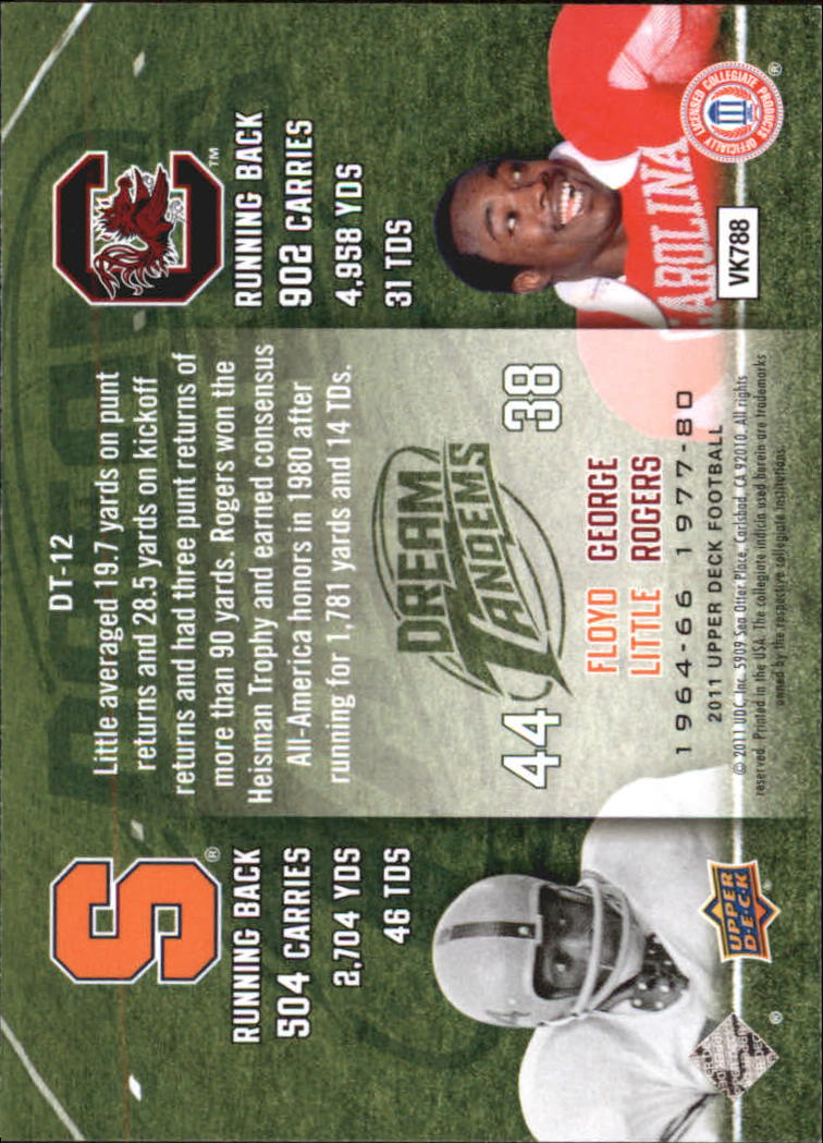 2011 Upper Deck Dream Tandems #DT12 George Rogers/Floyd Little back image