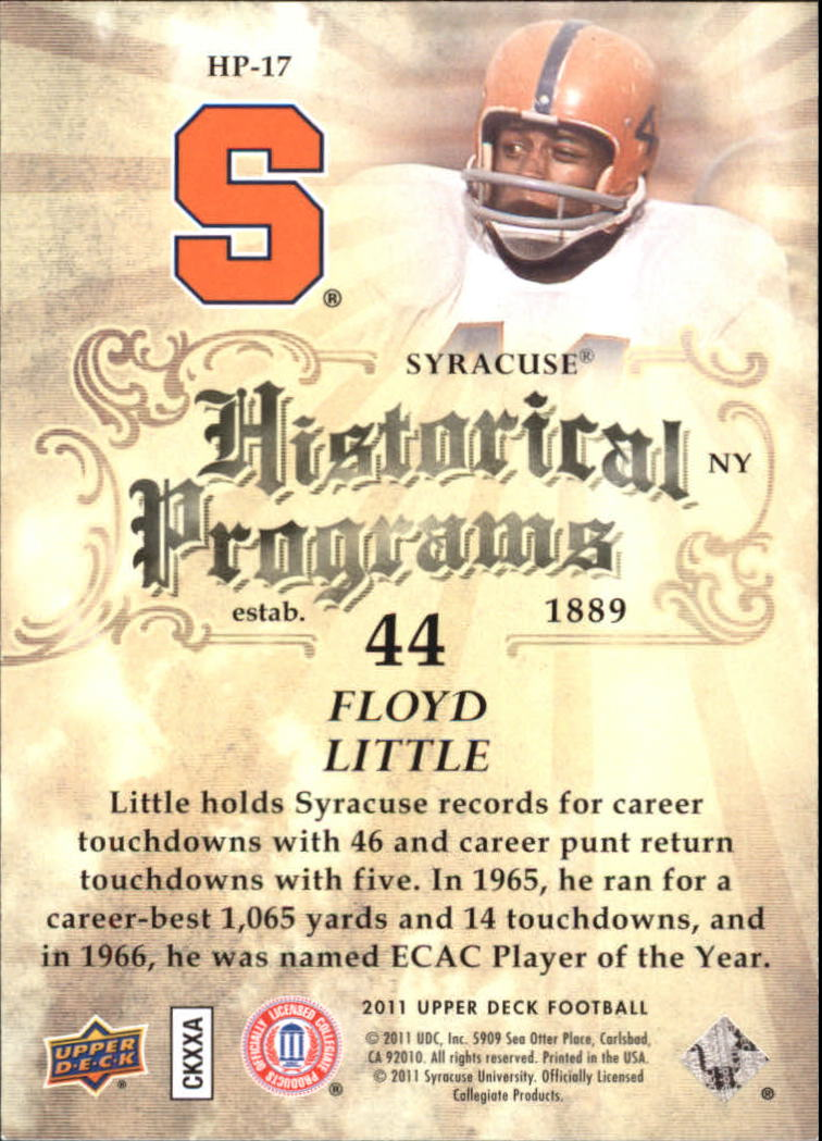 2011 Upper Deck Historical Programs #HP17 Floyd Little back image