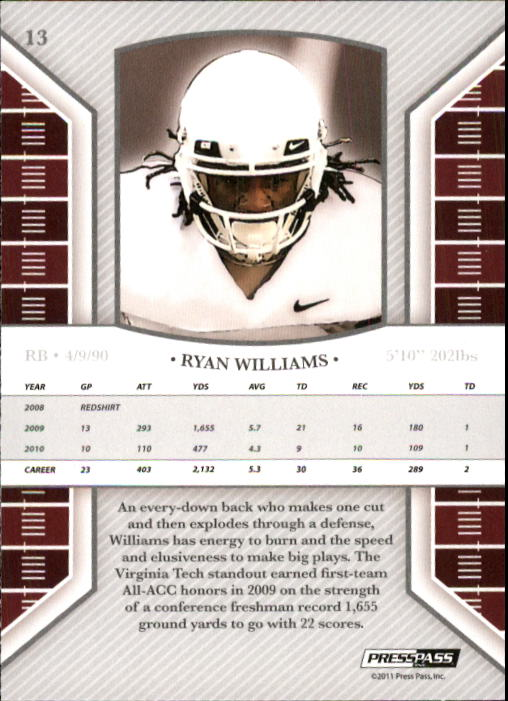 2011 Press Pass Legends #13 Ryan Williams back image