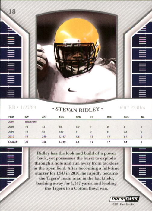 2011 Press Pass Legends #18 Stevan Ridley back image