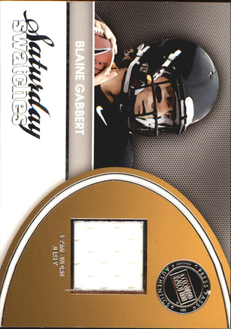 2011 Press Pass Legends Saturday Swatches Silver #SSWBG Blaine Gabbert