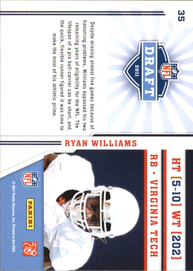 2011 Prestige NFL Draft #35 Ryan Williams back image