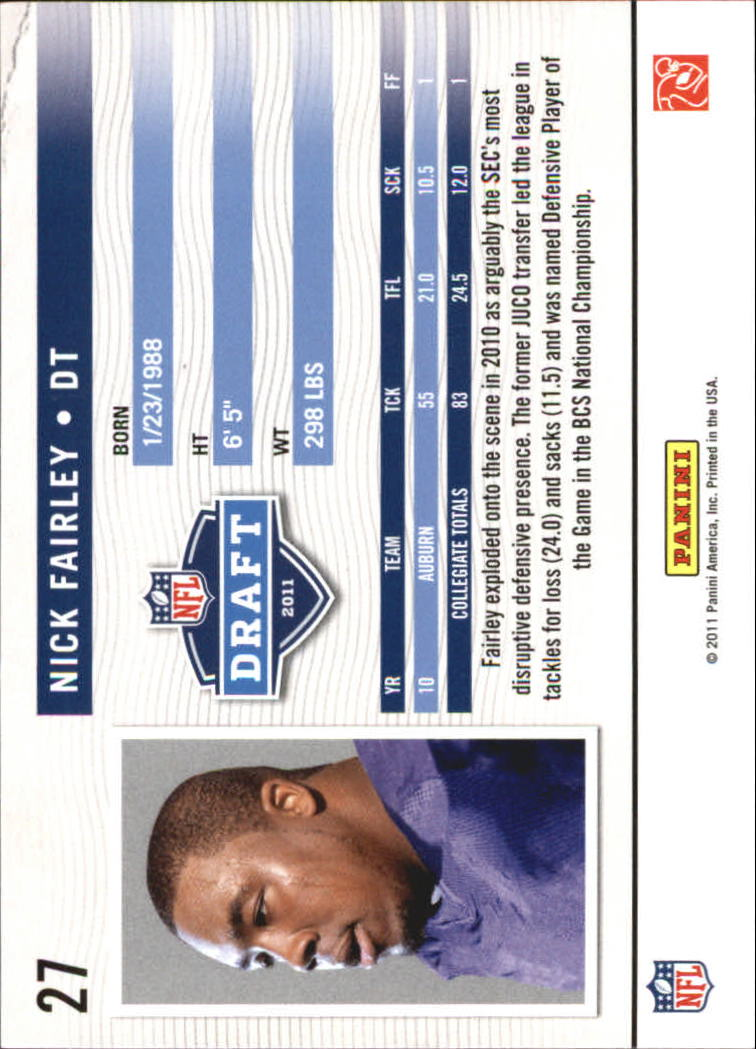 2011 Prestige NFL Passport #27 Nick Fairley back image