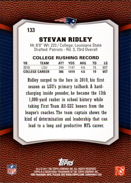 2011 Topps Rising Rookies #133 Stevan Ridley RC back image