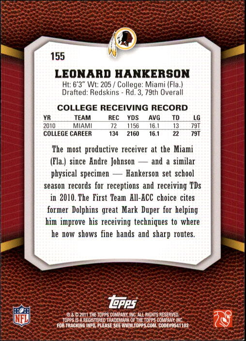 2011 Topps Rising Rookies #155 Leonard Hankerson RC back image