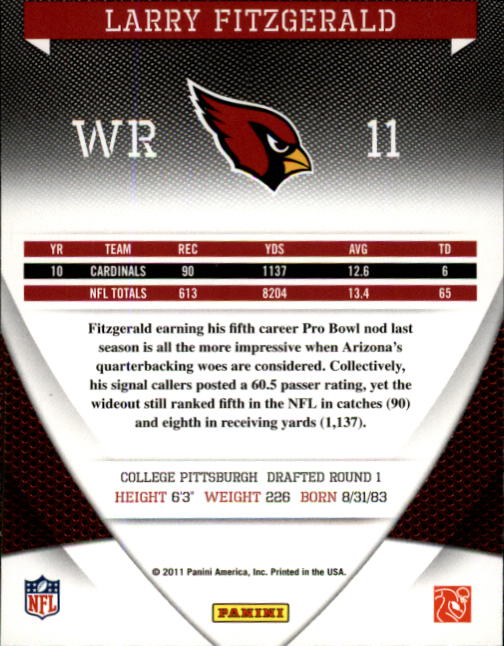 2011 Donruss Elite #2 Larry Fitzgerald back image