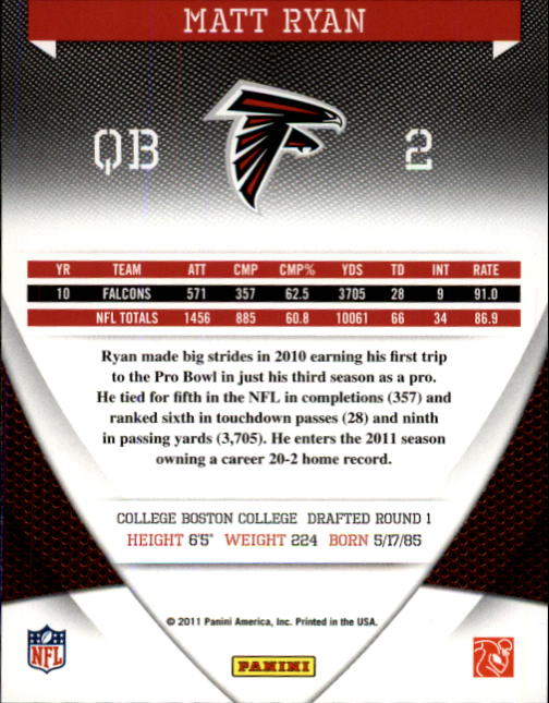 2011 Donruss Elite #4 Matt Ryan back image