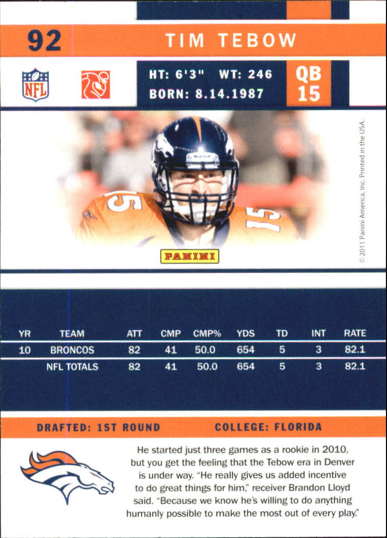 2011 Score Glossy #92 Tim Tebow back image