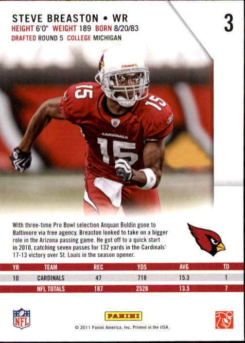 2011 Rookies and Stars #3 Steve Breaston back image