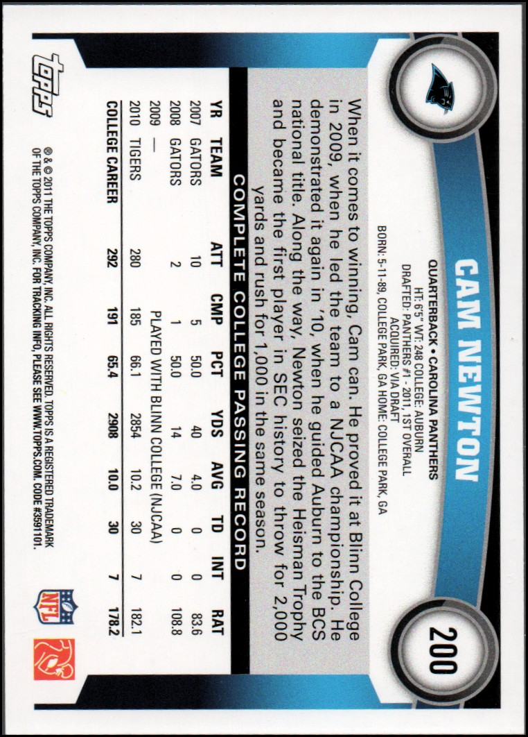 2011 Topps #200A Cam Newton RC/(stands in background/silver wall) back image