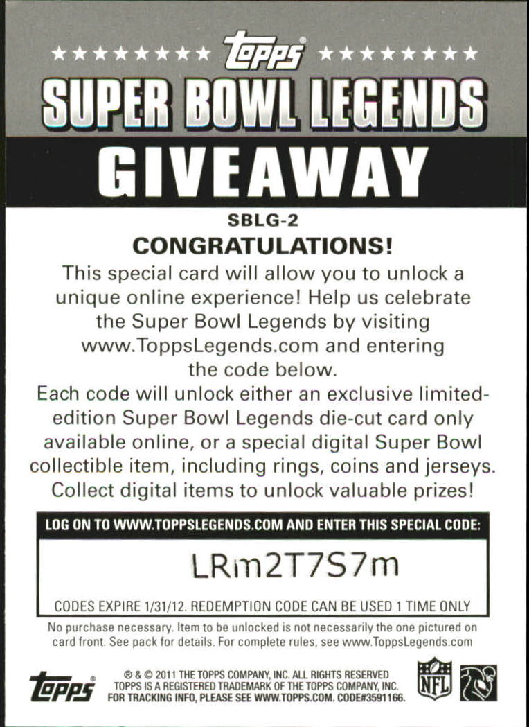 2011 Topps Super Bowl Legends Giveaway #SBLG2 Terry Bradshaw back image