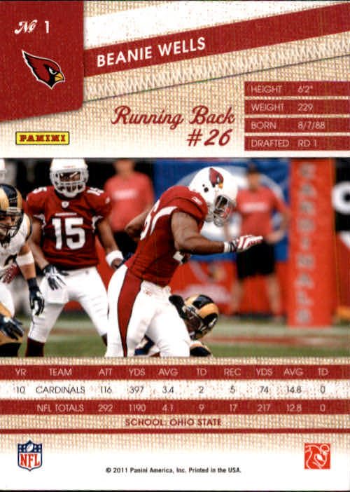 2011 Panini Threads #1 Beanie Wells back image