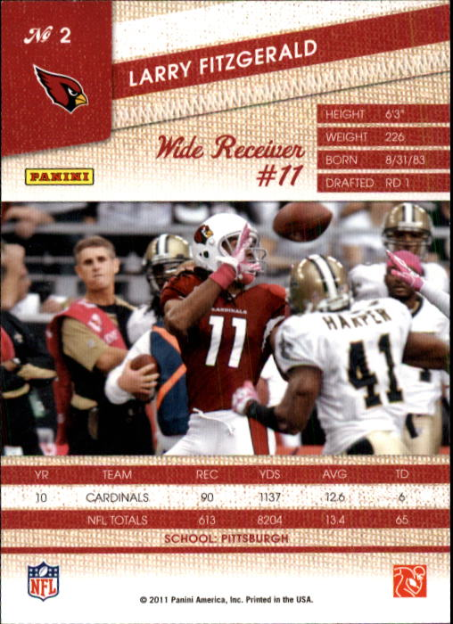 2011 Panini Threads #2 Larry Fitzgerald back image