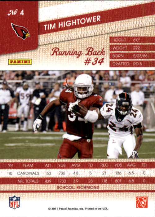 2011 Panini Threads #4 Tim Hightower back image