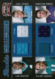 2011 Panini Threads Rookie Collection Materials Quad #1 Cam Newton/Jake Locker/Blaine Gabbert/Christian Ponder