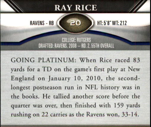 2011 Topps Platinum #20 Ray Rice back image