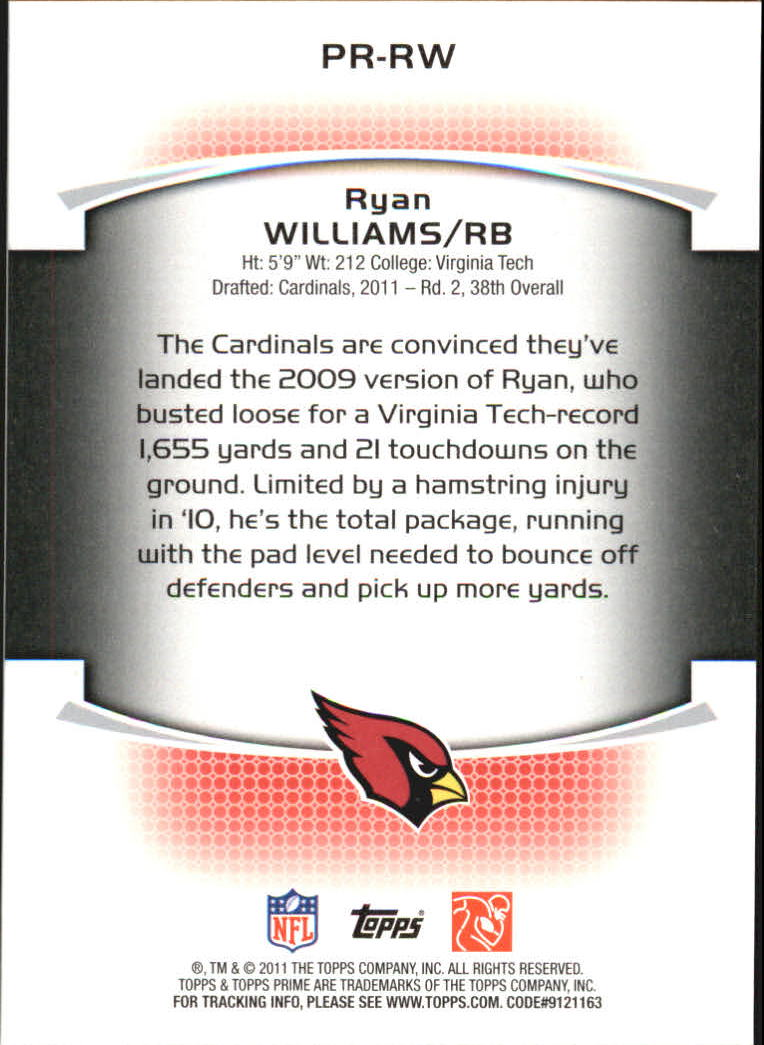 2011 Topps Prime Rookie #PRRW Ryan Williams back image