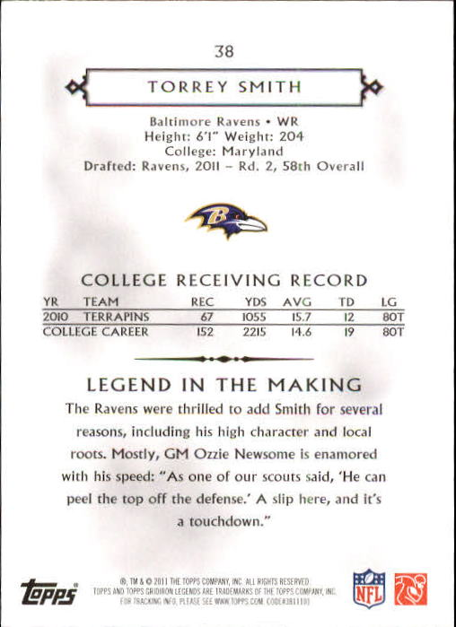 2011 Topps Legends #38 Torrey Smith RC back image
