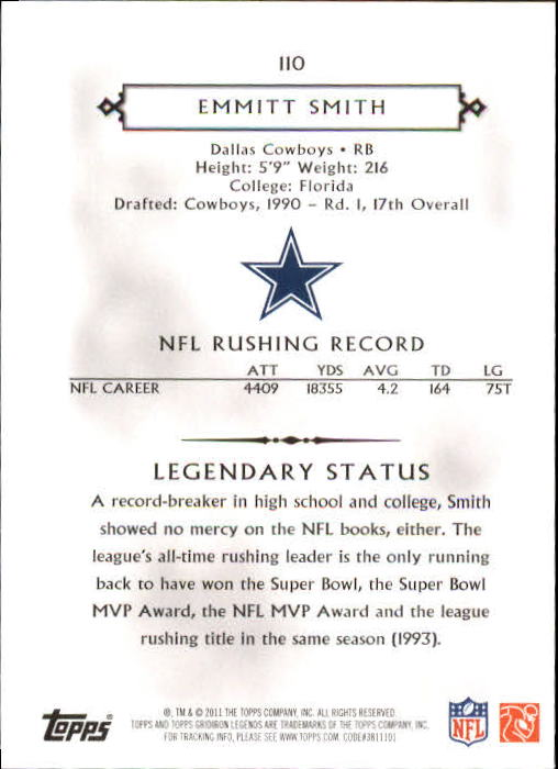 2011 Topps Legends #110 Emmitt Smith back image