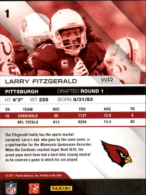 2011 Absolute Memorabilia #1 Larry Fitzgerald back image