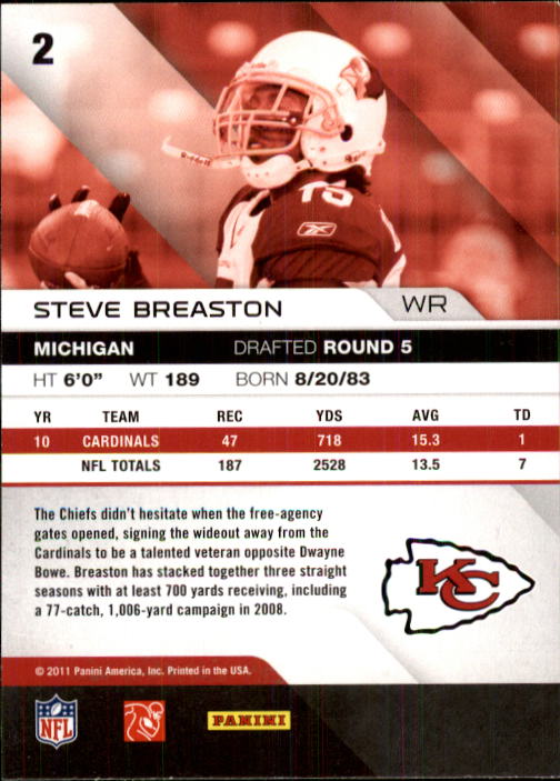 2011 Absolute Memorabilia #2 Steve Breaston back image