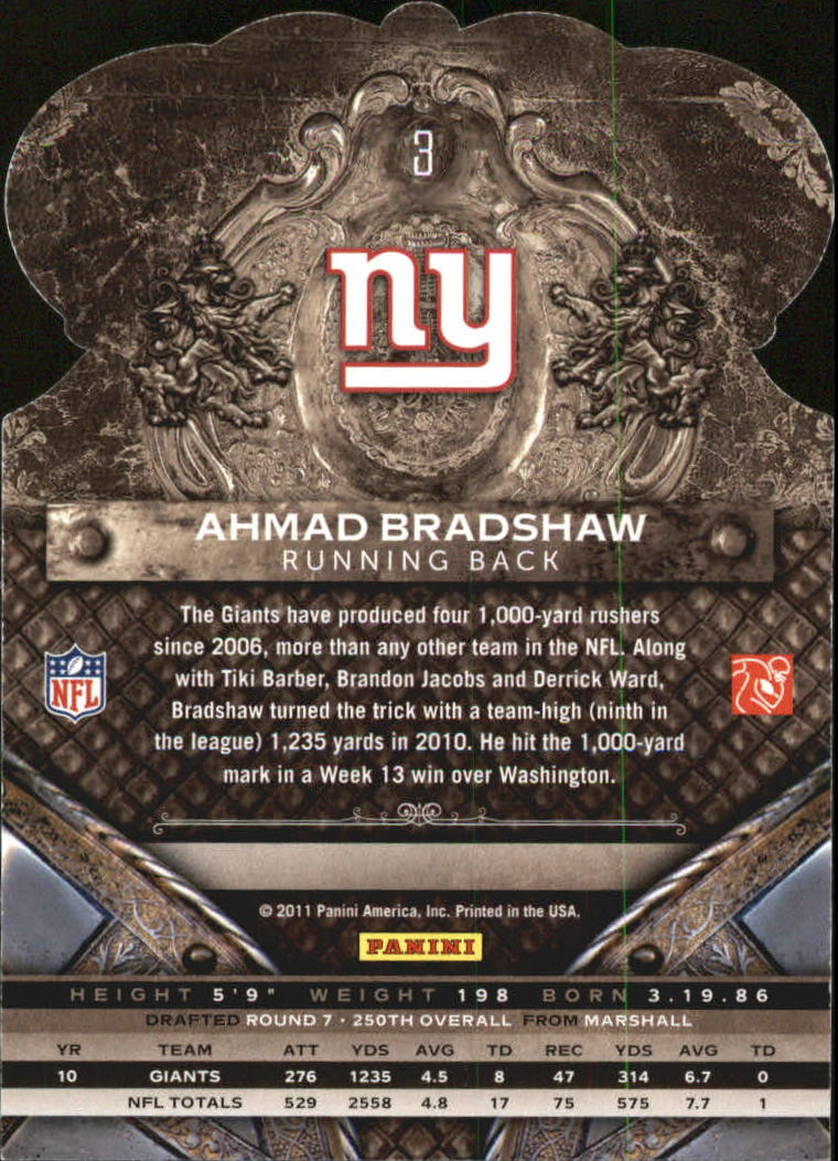 2011 Crown Royale #3 Ahmad Bradshaw back image