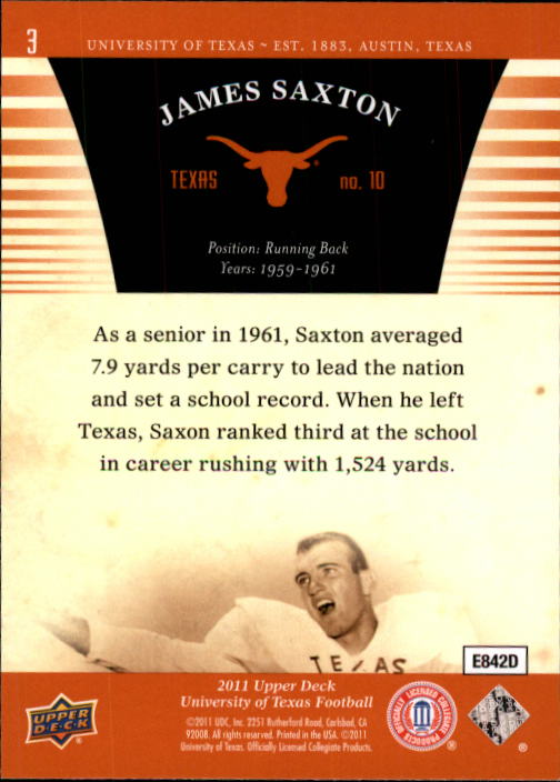 2011 Upper Deck Texas #3 Jimmy Saxton back image