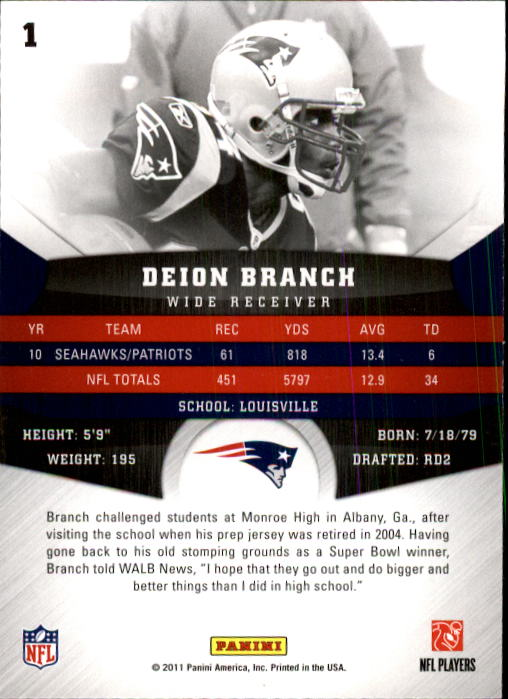2011 Panini Gridiron Gear #1 Deion Branch back image
