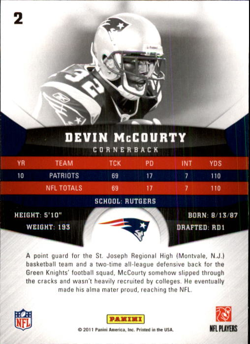 2011 Panini Gridiron Gear #2 Devin McCourty back image