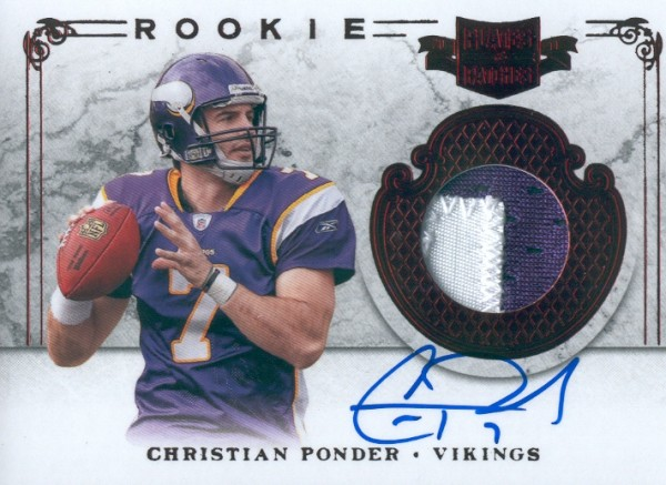 2011 Panini Plates and Patches #208 Christian Ponder JSY AU/299 RC