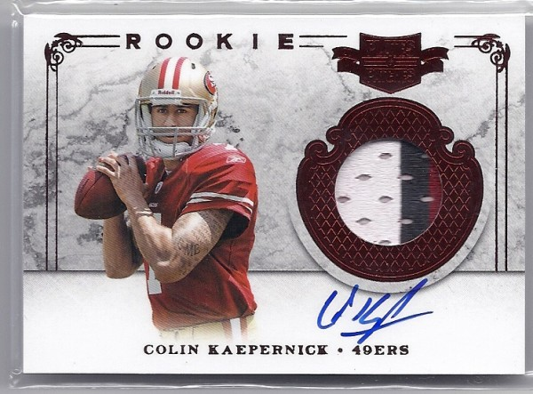 2011 Panini Plates and Patches #212 Colin Kaepernick JSY AU/499 RC