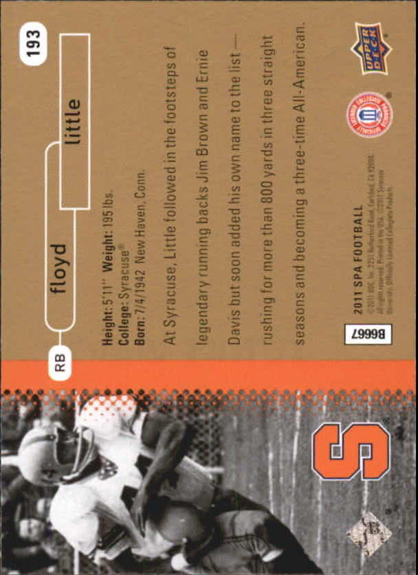 2011 SP Authentic #193 Floyd Little FW back image
