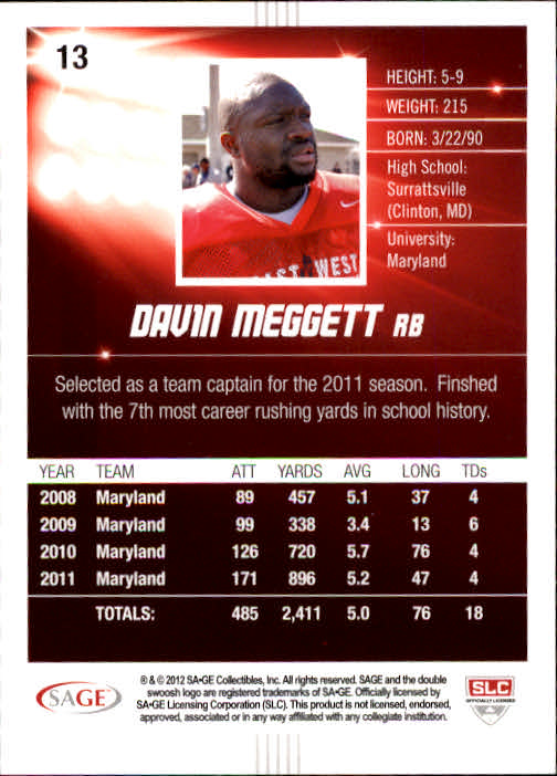 2012 SAGE HIT #13 Davin Meggett