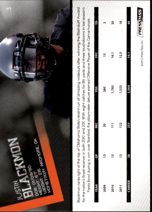 2012 Press Pass #3 Justin Blackmon back image