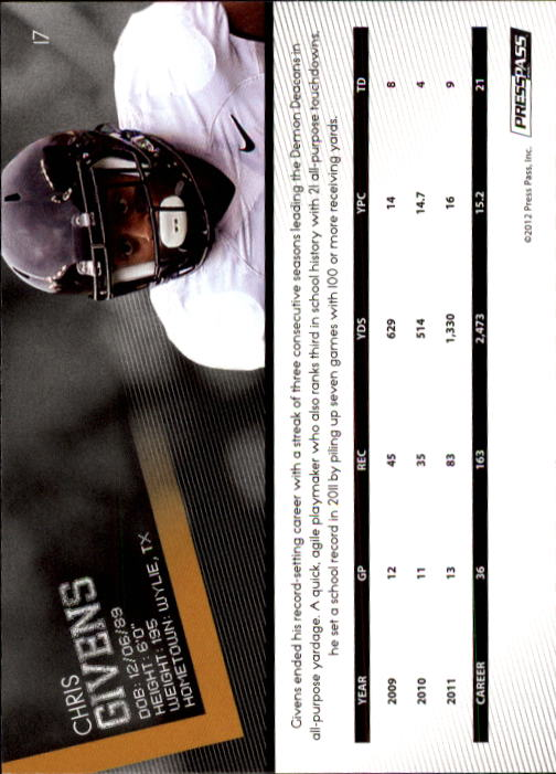2012 Press Pass #17 Chris Givens back image