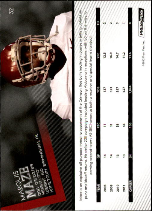 2012 Press Pass #32 Marquis Maze back image