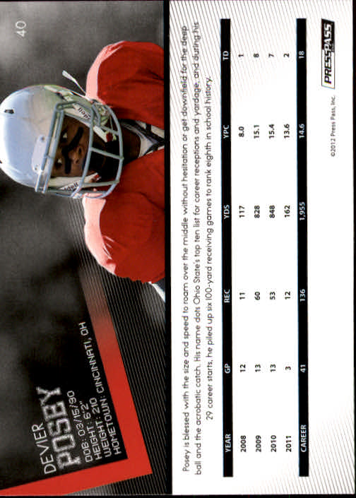 2012 Press Pass #40 DeVier Posey back image