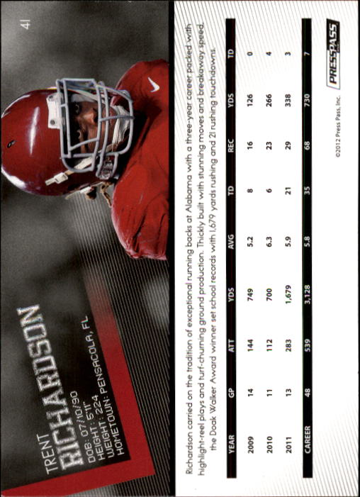 2012 Press Pass #41 Trent Richardson back image