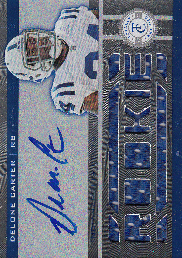 2011 Totally Certified #212 Delone Carter JSY AU/499 RC