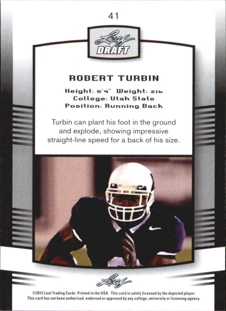 2012 Leaf Draft #41 Robert Turbin back image