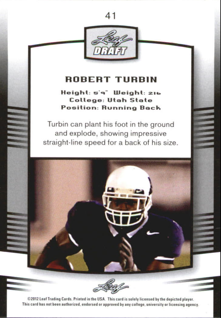 2012 Leaf Draft Blue #41 Robert Turbin back image