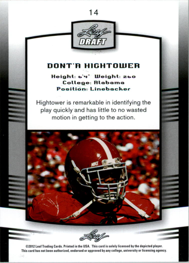 2012 Leaf Draft Gold #14 Dont'a Hightower back image