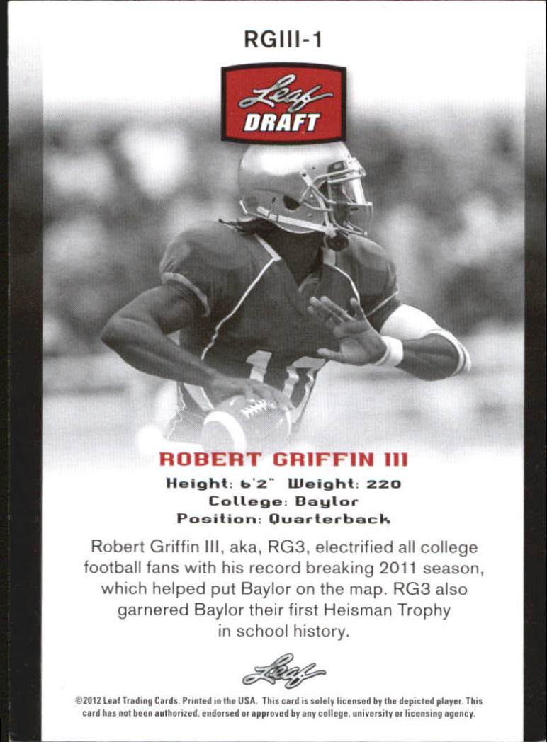 2012 Leaf Draft Robert Griffin #1 Robert Griffin III back image