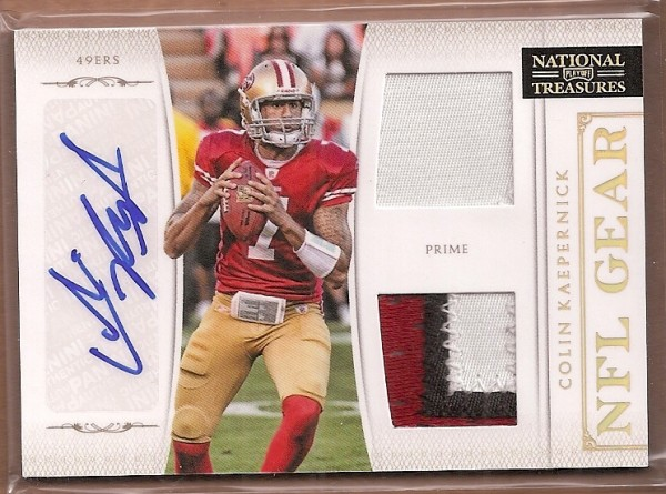 2011 Playoff National Treasures NFL Gear Combos Signatures Prime #10 Colin Kaepernick/25